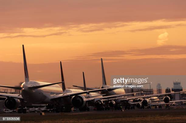 An Air France Boeing 777-300, a Delta Air Lines 767-300, a Continental Airlines 757-200, the Rolls-Royce 747-200 Trent 1000 engine test bed, an...