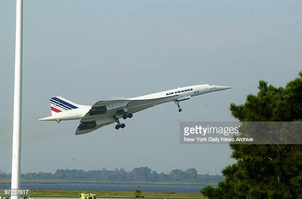 An Air France Concorde supersonic jet takes off from Kennedy Airport for Paris on what may be its last flight The sleek plane grounded since one of...