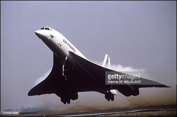 An Air France Concorde takes off, France, March, 1994.