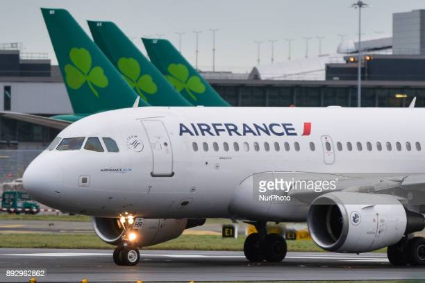 An Air France plane is about to take off on the runway at Dublin airport On Thursday 14 December 2017 in Dublin Ireland