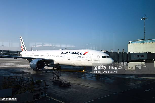 An Air France plane is parked at RoissyCharlesdeGaulle airport north of Paris on January 20 2017