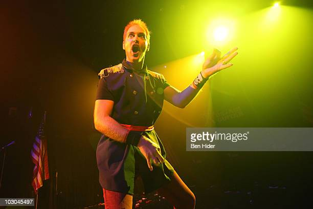 An Air Guitar competitor performs during the 2010 US Air Guitar National Finals at The Fillmore at Irving Plaza on July 22 2010 in New York City