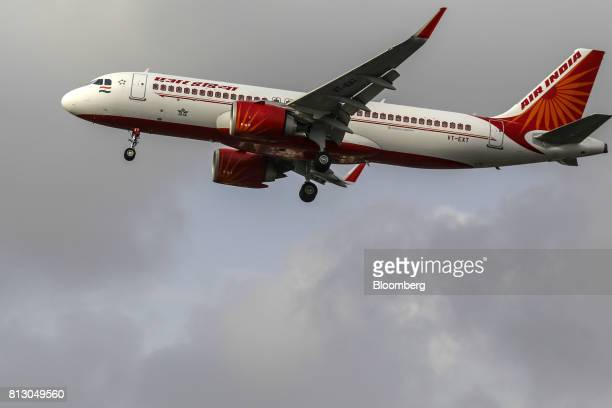An Air India Ltd aircraft prepares to land at Chhatrapati Shivaji International Airport in Mumbai India on Monday July 10 2017 Air Indias local...