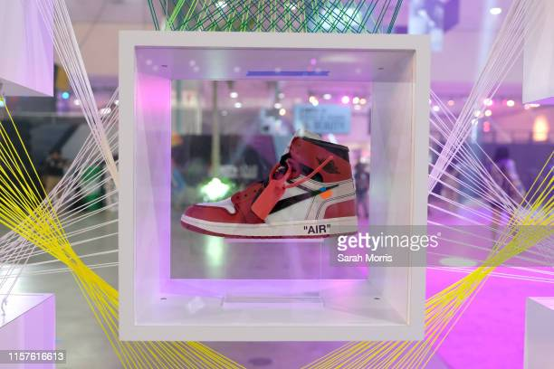 An Air Jordan shoe is displayed at the Kicksperience Stage Sponsored By Sprite during the BET Experience at Staples Center on June 22 2019 in Los...