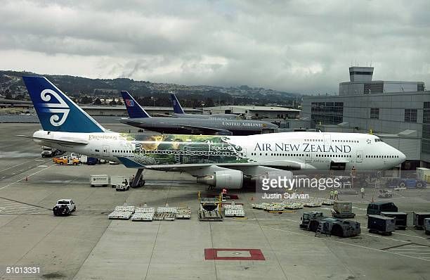An Air New Zealand 747400 adorned with Lord of the Rings graphics is seen parked at the international terminal at San Francisco International Airport...