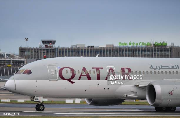 An Air Qatar plane is about to take off on the runway at Dublin airport On Thursday 14 December 2017 in Dublin Ireland