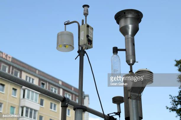 An air quality measuring station stands in the city center on August 28 2017 in Berlin Germany Germany faces federal elections on September 24 and...