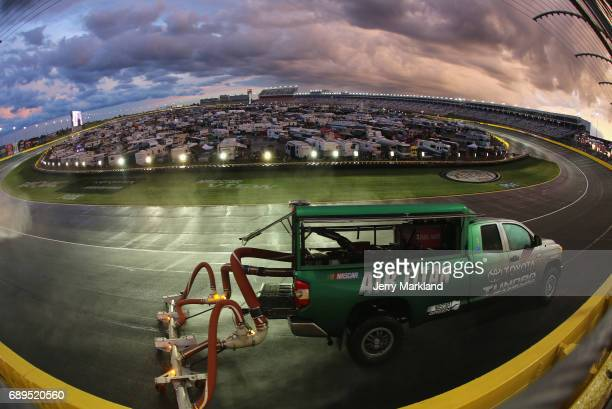 An Air Titan dries the track during a rain delay during the Monster Energy NASCAR Cup Series CocaCola 600 at Charlotte Motor Speedway on May 28 2017...