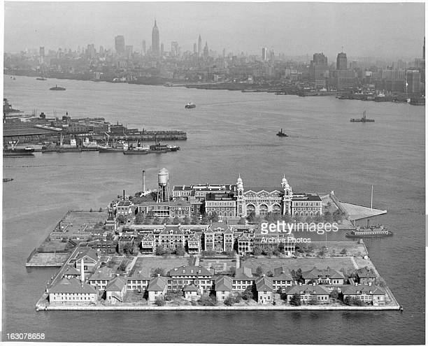 An air view of Ellis Island in Upper New York Bay was the gateway for millions of immigrants to the United States in New York City New York 1955