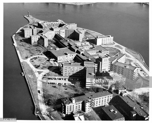 An air view of Rikers Island New York City's main jail complex and the name of the 41317acre island on which it sits in the East River between Queens...
