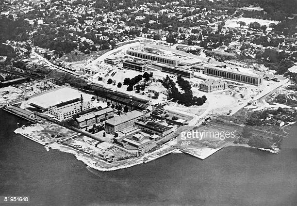 An air view of Sing Sing prison in Ossining New York which was built in 1825 by its own prisoners and where Ethel and Julius Rosenberg the first...