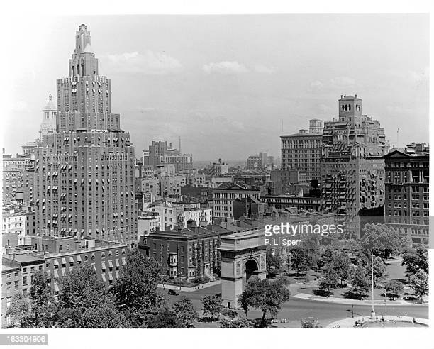 An air view of the skyscrapers and buildings around Washington Square in New York City New York 1955