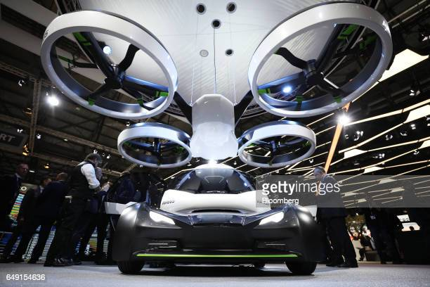An airborne and ground transportation concept vehicle a collaboration between Italdesign and Airbus SE stands on display on the first day of the 87th...