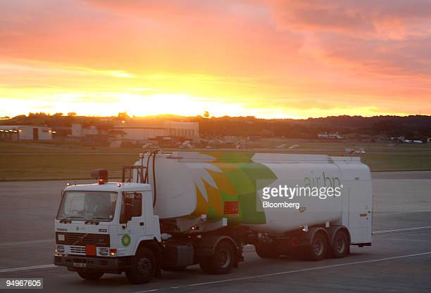 An AirBP truck delivers gasoline to airplanes at the airport in Edinburgh Scotland UK on Sunday Aug 30 2009 BP Plc is Europe's secondlargest oil...