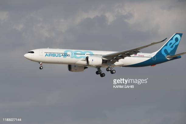 An Airbus 330 commercial airplane is seen during an event at the Dubai Airshow in the United Arab Emirates on November 17 2019