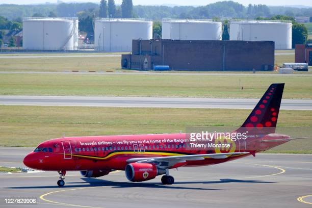 An Airbus A 320 from Brussels Airlines is taxiing in the Brussels airport on July 29, 2020 in Zaventem, Belgium. The special painting is for the...