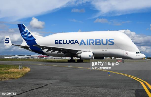 An Airbus A300 Beluga outsize cargo freight aircraft is pictured on September 26 2017 at ToulouseBlagnac airport PAVANI