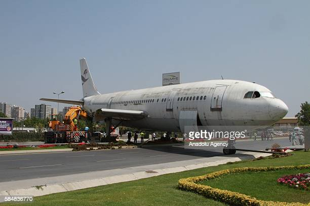 An Airbus A300 plane bought from Fly Air which will be redecorated to serve as a restaurant and cafe is seen on an highway on the route from Ataturk...