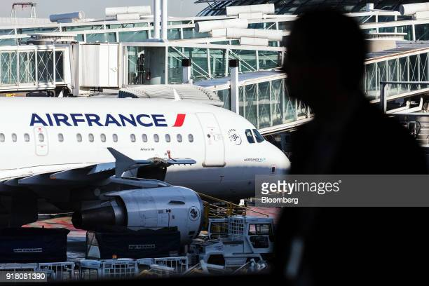 An Airbus A318 passenger aircraft operated by Air FranceKLM Group stands on the tarmac at Charles de Gaulle airport operated by Aeroports de Paris in...