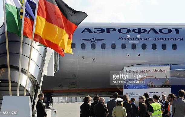 An Airbus A319 belonging to Russian flagship carrier Aeroflot lands at the airport of Dresden eastern Germany on July 3 2009 Aeroflot reopens today a...