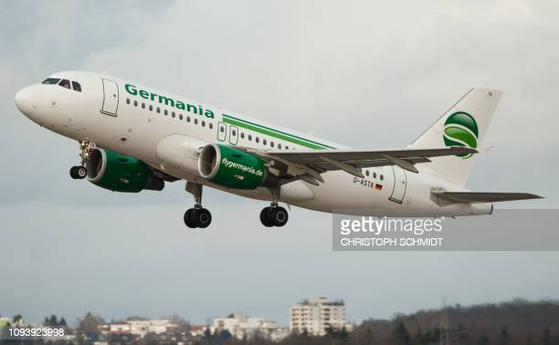 An Airbus A319 of the German airline Germania takes off from the airport of Stuttgart southern Germany on January 2 2018 Berlinbased airline Germania...