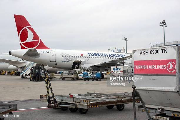 An Airbus A319 passenger aircraft operated by Turk Hava Yollari Anonim Ortakligi also known as Turkish Airlines stands at the gate at Vienna...