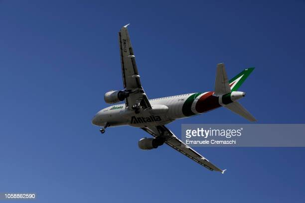 An Airbus A319112 passenger aircraft operated by Alitalia lands at Linate airport on October 24 2018 in Milan Italy Alitalia the flag carrier of...