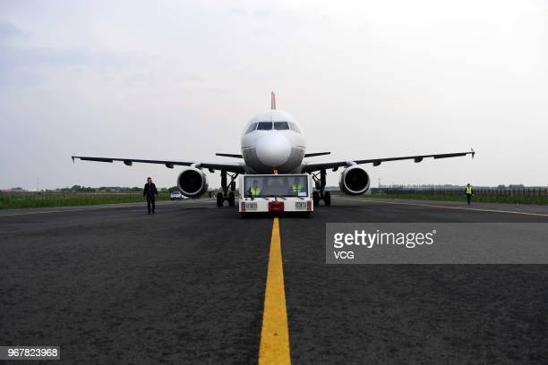 An Airbus A320 passenger jet of China Aircraft Leasing Group Holdings Limited is seen prior to being dismantled at the China Aircraft Recycling...