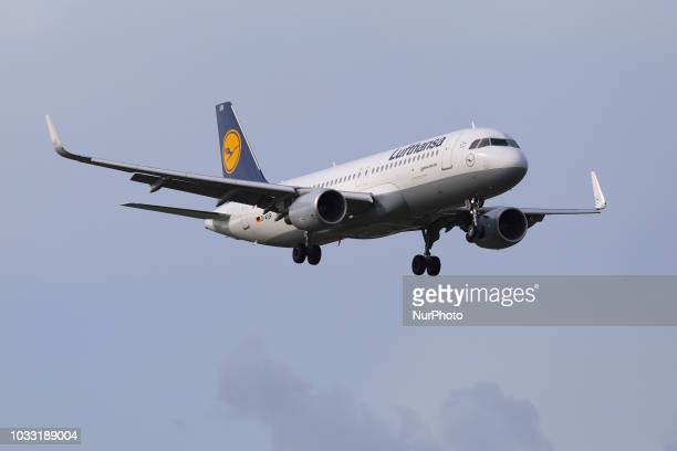 An Airbus A320200 from Lufthansa is landing at Amsterdam Schiphol Airport in the Netherlands The aircraft is an Airbus A320200 produced in 2016 with...
