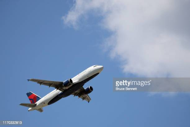 An Airbus A320-211 operated by Delta Airlines takes off from JFK Airport on August 24, 2019 in the Queens borough of New York City.