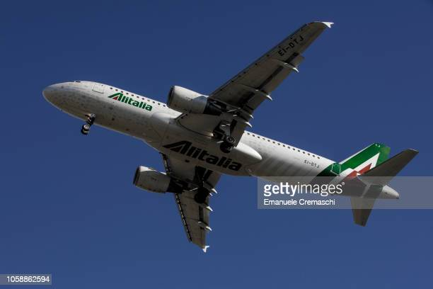 An Airbus A320216 passenger aircraft operated by Alitalia lands at Linate airport on October 24 2018 in Milan Italy Alitalia the flag carrier of...