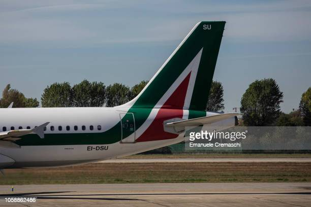 An Airbus A320216 passenger aircraft operated by Alitalia rolls on the tarmac at Linate airport on October 24 2018 in Milan Italy Alitalia the flag...