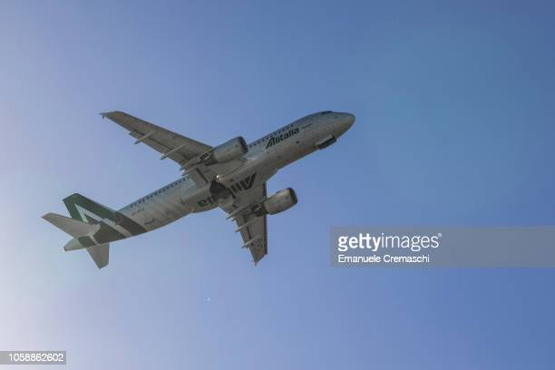 An Airbus A320216 passenger aircraft operated by Alitalia takes off from Linate airport on October 24 2018 in Milan Italy Alitalia the flag carrier...