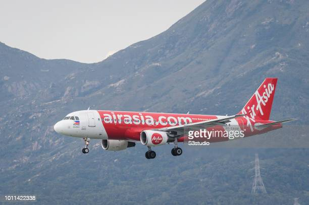 An Airbus A320216 passenger plane belonging to the AirAsia lands at Hong Kong International Airport on August 01 2018 in Hong Kong Hong Kong 'n