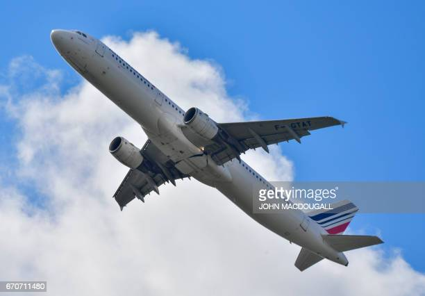 An Airbus A321 aircraft of Air France takes off from Berlin's Tegel airport April 20 2017 Tegel was expected to close down in 2012 after the opening...