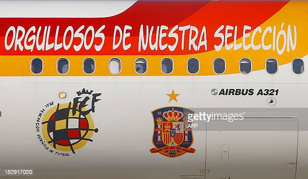 An Airbus A321 from the Spanish airline Iberia shows the logo of Spain's world champion national football team and the Spanish national football team...