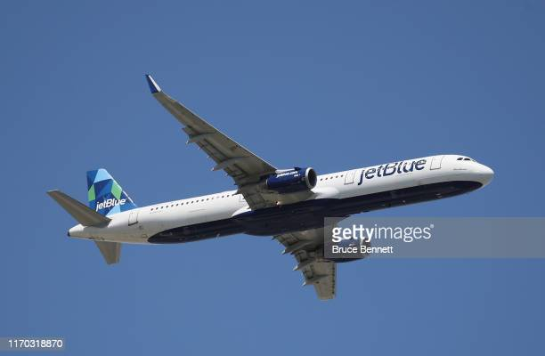 An Airbus A321231 operated by JetBlue takes off from JFK Airport on August 24 2019 in the Queens borough of New York City