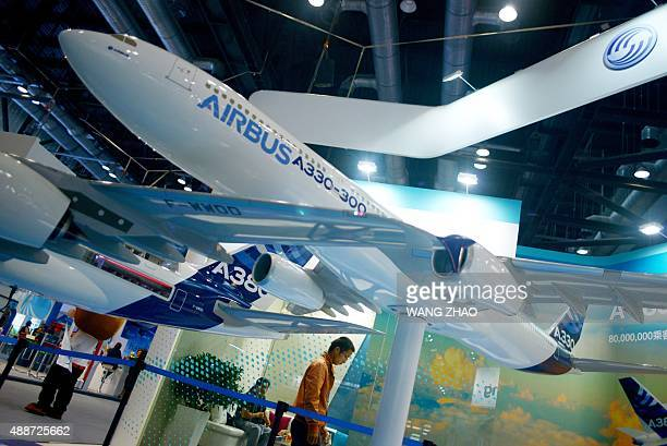 An Airbus A330 model is displayed at the Beijing International Aviation Expo in Beijing on September 17 2015 China is expected to add more than 6300...