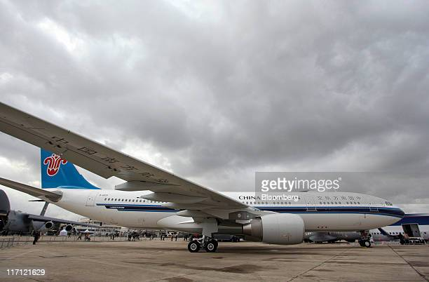 An Airbus A330200 aircraft operated by China Southern Airline Co stands on display at the Paris Air Show in Paris France on Thursday June 23 2011 The...