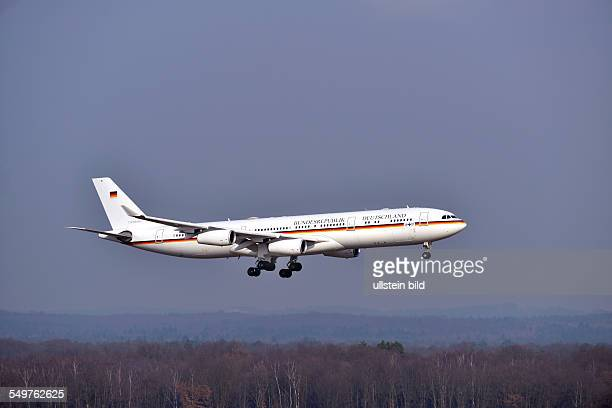 an AIRBUS A340 / 1001 of Federal Republic of Germany/ German Airforce on landing at the airport of CologneBonn