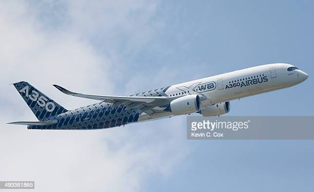 An Airbus A350 flies over the ninth green during round two of the Airbus LPGA Classic presented by JTBC at the Crossings Course at the Robert Trent...