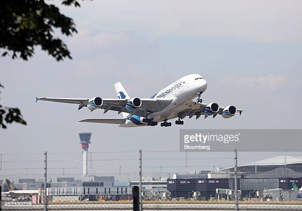 An Airbus A380 aircraft produced by Airbus Group NV and operated by Malaysia Airlines System Bhd takesoff from Heathrow airport's Terminal 4 in...
