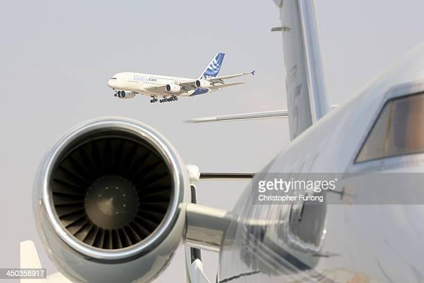 An Airbus A380 gives a flying display during the Dubai Airshow on November 18 2013 in Dubai United Arab Emirates The Dubai Air Show is the premier...