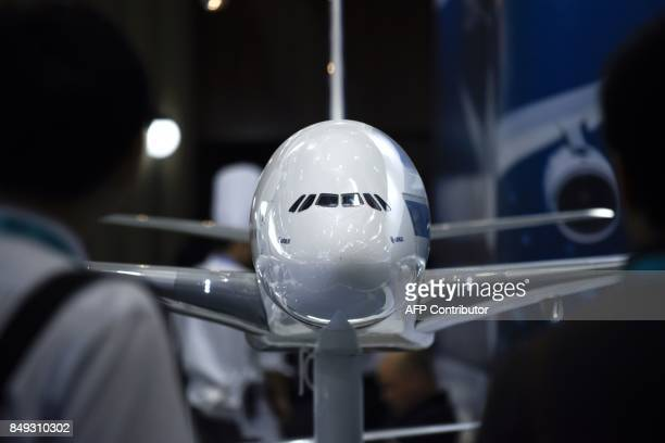 An Airbus A380 model is displayed at the Beijing International Aviation Expo in Beijing on September 19 2017 / AFP PHOTO / WANG Zhao