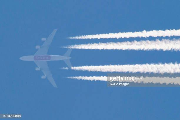 An Airbus A380 of Emirates airline seen flying over Greece traveling from Dubai Airport DXB to Nice France NCE airport Aircraft registration is A6EUM