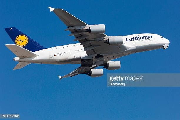 An Airbus A380 passenger aircraft operated by Deutsche Lufthansa AG takes off from Frankfurt Airport operated by Fraport AG in Frankfurt Germany on...