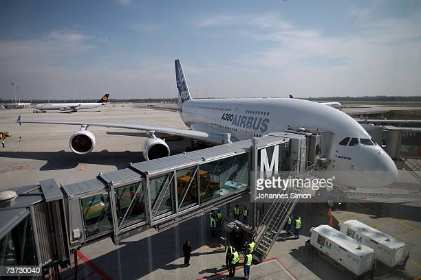 An Airbus A380 stands on the gate after landing for the first time at FranzJosefStrauss Airport following a routeproving flight on March 28 2007 in...