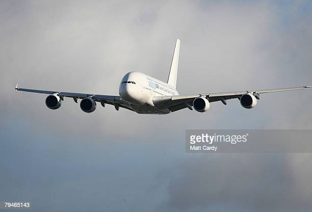 An Airbus A380 takes off from Filton Runway on February 1 2008 in Bristol, United Kingdom. Airbus were testing a new synthetic fuel on the passenger...
