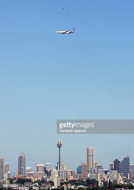 An AirBus A380 the worlds largest commercial passenger airliner flies over Sydney on November 13 2005 in Sydney Australia Qantas have purchased 12...