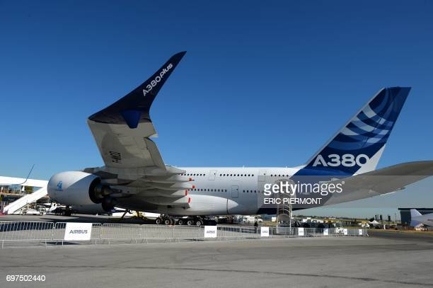 An Airbus A380 with the mention A380 plus stands on the tarmac of Le Bourget on June 19, 2017 in Le Bourget on the opening day of the International...